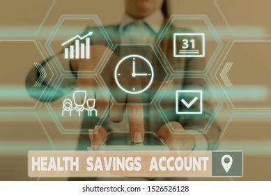Conceptual hand writing showing Health Savings Account. Business photo showcasing users with High Deductible Health Insurance Policy Woman wear work suit presenting presentation smart device.