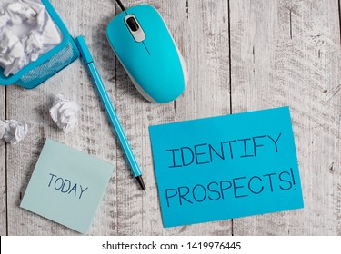 Conceptual hand writing showing Identify Prospects. Business photo showcasing Possible client Ideal Customer Prospective Donors Crumpled paper in bin and computer mouse on wooden backdrop.