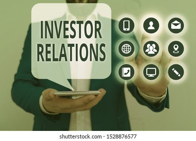 Conceptual hand writing showing Investor Relations. Business photo showcasing analysisagement responsibility that integrates finance.