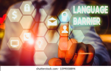 Conceptual hand writing showing Language Barrier. Business photo showcasing difficulties in communication Speaking different language.