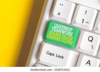 Conceptual hand writing showing Leadership Teamwork Shared Values Company Culture. Business photo showcasing Group Team Success White pc keyboard with note paper above the white background.