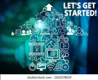 Conceptual hand writing showing Let S Get Started. Business photo text encouraging someone to begin doing something Woman wear work suit presenting presentation smart device.