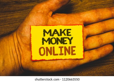 Conceptual hand writing showing Make Money Online. Business photo showcasing Business Ecommerce Ebusiness Innovation Web Technology Text Words written yellow paper note red border message love.