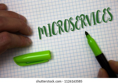Conceptual hand writing showing Microservices. Business photo text Software development technique Decomposing an application Box background pen cap marker graphs drawing office notebook.