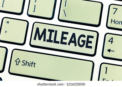 Conceptual hand writing showing Mileage. Business photo showcasing Number of miles travelled or covered Display panel Car instrument