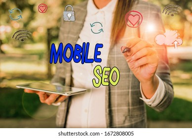 Conceptual hand writing showing Mobile Seo. Business photo showcasing process of optimizing a website to rank for mobile searches.