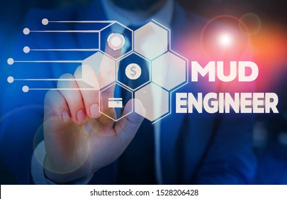 Conceptual hand writing showing Mud Engineer. Business photo text liable for making mixture of fluids used in drilling process Male wear formal suit presenting presentation smart device.