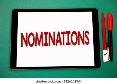 Conceptual hand writing showing Nominations. Business photo showcasing Suggestions of someone or something for a job position or prize Wide framed white tablet board smart screen pen cap learn.