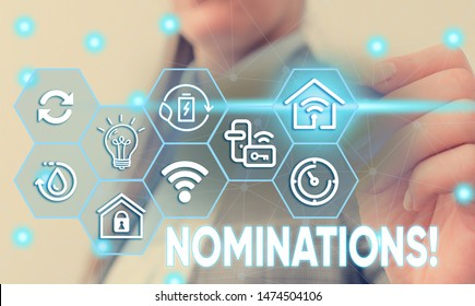 Conceptual hand writing showing Nominations. Business photo text action of nominating or state being nominated for prize Female human wear formal work suit presenting smart device.