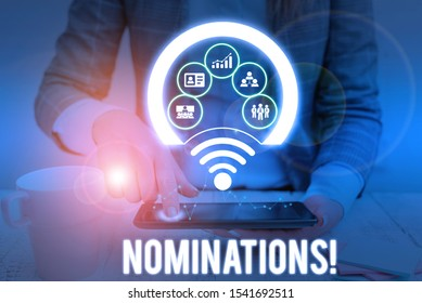 Conceptual hand writing showing Nominations. Business photo showcasing action of nominating or state being nominated for prize Picture photo network scheme with modern smart device.