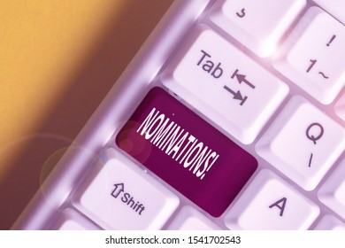 Conceptual hand writing showing Nominations. Business photo showcasing action of nominating or state being nominated for prize White pc keyboard with note paper above the white background.