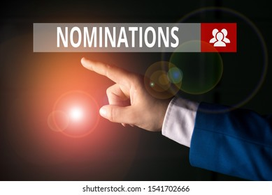 Conceptual hand writing showing Nominations. Business photo showcasing action of nominating or state being nominated for prize Isolated hand pointing with finger. Business concept.
