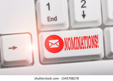 Conceptual hand writing showing Nominations. Business photo showcasing action of nominating or state being nominated for prize Keyboard with note paper on white background key copy space.