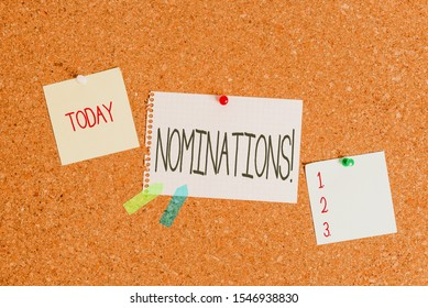Conceptual hand writing showing Nominations. Business photo showcasing action of nominating or state being nominated for prize Corkboard size paper thumbtack sheet billboard notice board.