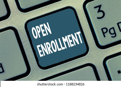 Conceptual hand writing showing Open Enrollment. Business photo showcasing The yearly period when people can enroll an insurance