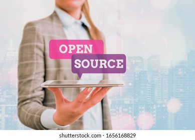 Conceptual hand writing showing Open Source. Business photo showcasing denoting software which original source code is made free.