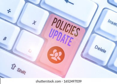 Conceptual hand writing showing Policies Update. Business photo showcasing act of adding new information or guidelines formulated.