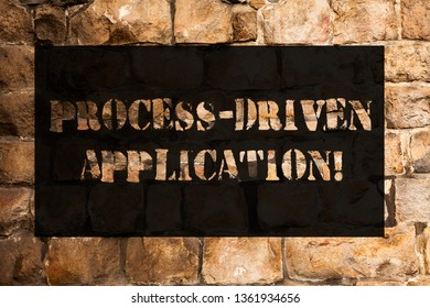 Conceptual hand writing showing Process Driven Application. Business photo text workflow engine where process can be exposed Brick Wall art like Graffiti motivational call written on the wall.