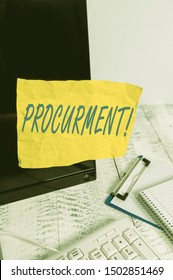 Conceptual hand writing showing Procurment. Business photo showcasing action of acquiring military equipment and supplies Note paper taped to black screen near keyboard stationary.
