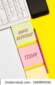 Conceptual hand writing showing Rapid Response. Business photo text Medical emergency team Quick assistance during disaster Empty papers with copy space on yellow background table.