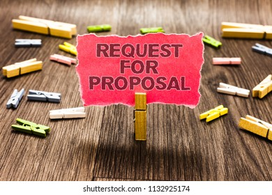 Conceptual hand writing showing Request For Proposal. Business photo text document contains bidding process by agency or company Clips spread woody table learn study things class schooling.