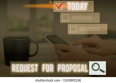 Conceptual hand writing showing Request For Proposal. Business photo text document contains bidding process by agency or company.