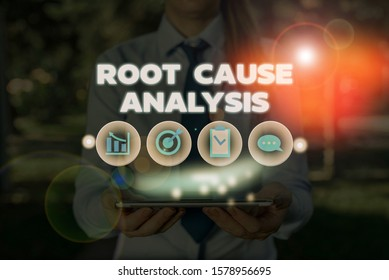 Conceptual hand writing showing Root Cause Analysis. Business photo showcasing Method of Problem Solving Identify Fault or Problem.
