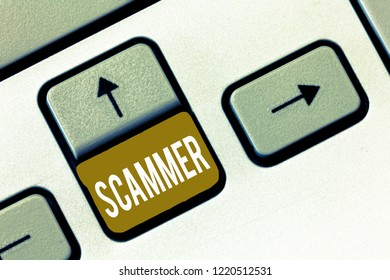 Conceptual hand writing showing Scammer. Business photo showcasing Someone who makes money by tricking showing Crime Fraud Thief