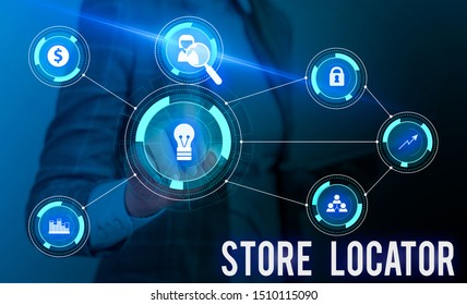 Conceptual hand writing showing Store Locator. Business photo showcasing to know the address contact number and operating hours Woman wear work suit presenting presentation smart device.