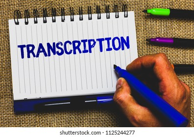 Conceptual hand writing showing Transcription. Business photo showcasing Written or printed process of transcribing words text voice Notepad marker creative ideas mat black shadow white papers.
