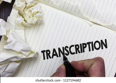 Conceptual hand writing showing Transcription. Business photo showcasing Written or printed process of transcribing words text voice Paper object notepad crumpled papers ideas several tries.