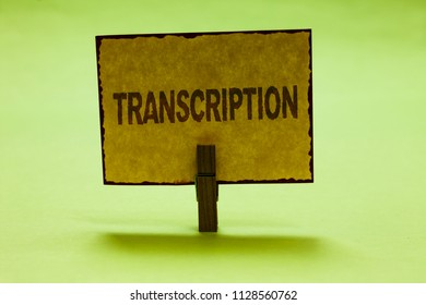 Conceptual hand writing showing Transcription. Business photo text Written or printed process of transcribing words text voice Nice lime colour shadow billboard important clip paperclip ideas.