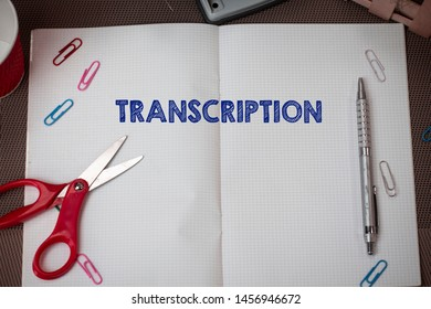 Conceptual hand writing showing Transcription. Business photo text Written or printed version of something Hard copy of audio Scissors and equipments math book above textured backdrop.