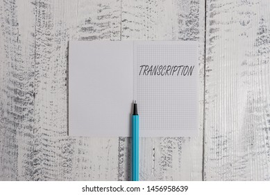 Conceptual hand writing showing Transcription. Business photo showcasing Written or printed version of something Hard copy of audio Square notebook fine highlighter lying on wooden background.