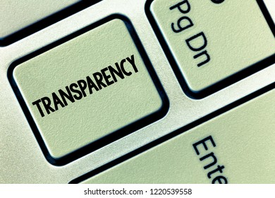 Conceptual hand writing showing Transparency. Business photo showcasing Condition being transparent clear obvious evident Translucent