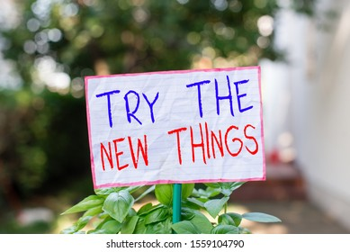 Conceptual hand writing showing Try The New Things. Business photo showcasing Breaks up Life Routine Learn some Innovative Skills Plain paper attached to stick and placed in the grassy land.
