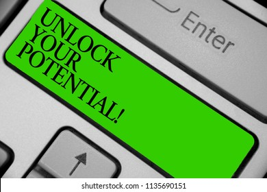 Conceptual hand writing showing Unlock Your Potential. Business photo showcasing improve self awareness Skills to Achieve more Keyboard green key computer computing reflection document.