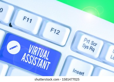 Conceptual hand writing showing Virtual Assistant. Business photo showcasing demonstrating who provides various services to entrepreneurs.
