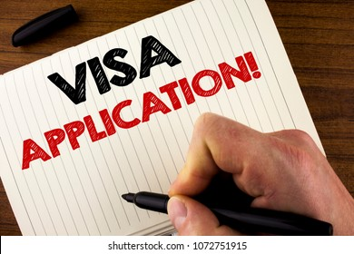 Conceptual hand writing showing Visa Application Motivational Call. Business photo showcasing sheet to provide your basic information written by Man Notebook Book Wooden background Marker.