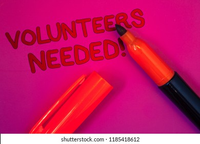 Conceptual hand writing showing Volunteers Needed Motivational Call. Business photo text Social Community Charity Volunteerism Magenta color platform dark red color tidings corner red marker.
