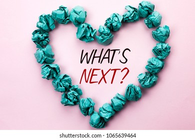 Conceptual hand writing showing What s Next Question. Business photo text Asking Imagination Choice Solution Next Questionaire written on Plain background within Heart Paper Balls.