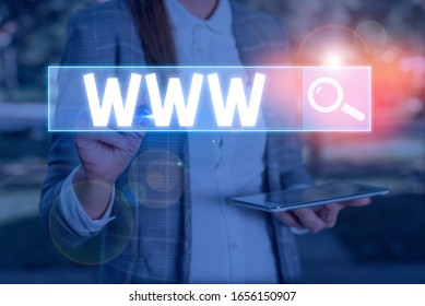 Conceptual hand writing showing Www. Business photo text Network of online content Formatted in HTML and accessed via HTTP.