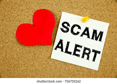 Conceptual hand writing text caption inspiration showing Scam Alert. Business concept for Scam Alert love written on sticky note, reminder cork background with copy space