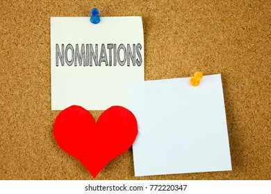 Conceptual hand writing text caption inspiration showing Nominations concept for Election Nominate Nomination and Love written on sticky note, reminder cork background with copy space