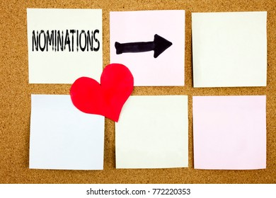 Conceptual hand writing text caption inspiration showing Nominations concept for Election Nominate Nomination and Love written on wooden background, reminder  background with copy space