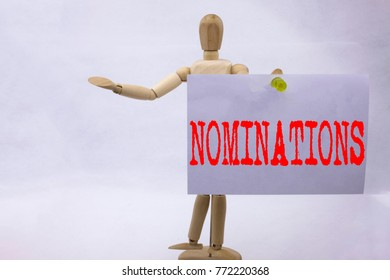 Conceptual hand writing text caption inspiration showing Nominations Business concept for Election Nominate Nomination written on sticky note sculpture background with space