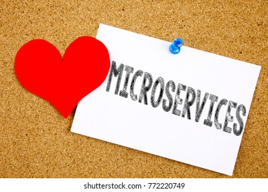 Conceptual hand writing text caption inspiration showing Microservices concept for Micro Services and Love written on sticky note, reminder cork background with copy space