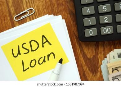 Conceptual hand written text showing USDA Loan