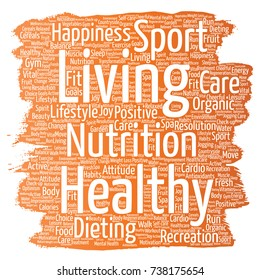 Conceptual healthy living positive nutrition sport paint brush word cloud isolated background. Collage of happiness care, organic, recreation workout, beauty, vital healthcare spa concept