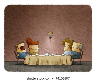 Conceptual illustration of confused parents looking at talkative boyfriend of their daughter at dinner table.Meeting with parents concept.